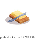 Butter and knife on a plate, baking ingredient 39791136
