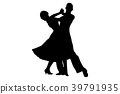 couple of dancers black silhouette 39791935