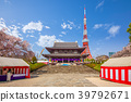 main hall of zojoji and tokyo tower in japan 39792671