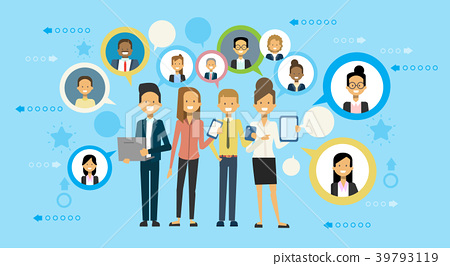 Group Of Business People Communicate Using Smart 39793119