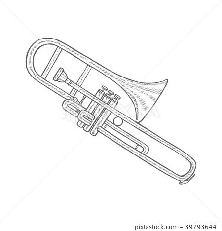 Trombone in Hand-Drawn Style 39793644