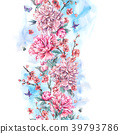 Watercolor seamless border with blooming cherry 39793786