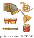 Set of Musical Instruments in Hand-Drawn Style 39793841