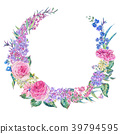 Watercolor pink roses and lilacs wreath 39794595