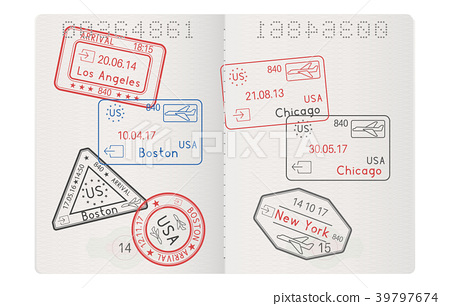 Passport pages with stamps of main USA cities 39797674