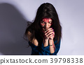Rape battered bloody victim sad woman sits on the 39798338