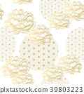 Gold Japanese pattern vector. Geometric and Floral 39803223