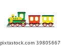 Cartoon toy train with colorful blocks isolated on 39805667