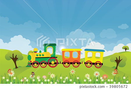 Toy train riding on Spring summer meadow landscape 39805672