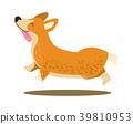 Happy Playing Corgi Icon Vector Illustration 39810953