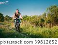 Man On Bike Bicycle Cycling  In Green Summer Sunn 39812852