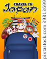 travel japan with bag full of japan object 39813699