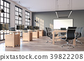 Modern loft style office with gray wall 3d render 39822208