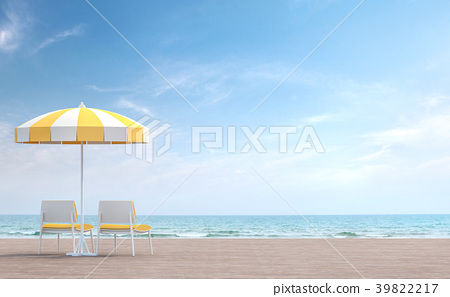 Sea side terrace with yellow umbrella 3d render 39822217