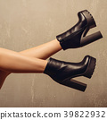 Woman's high heel black leather boots 39822932