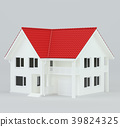 House modern contemporary style with red roof. 3d 39824325