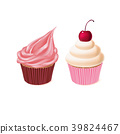 Vector two cupcakes, tasty cakes, sweet pastry 39824467