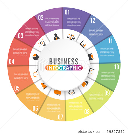 Circle chart infographic template with 12 options. 39827832