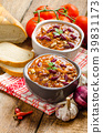 Homemade chilli con carne, bio bread 39831173