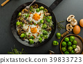 Vegetable omelet with bulls eye egg and sprouts 39833723