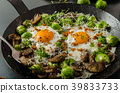 Vegetable omelet with bulls eye egg and sprouts 39833733