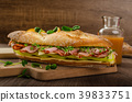 Rustic baguettes with smoked rump 39833751