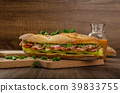 Rustic baguettes with smoked rump 39833755
