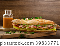 Rustic baguettes with smoked rump 39833771