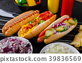 All beef dogs, variantion of hot dogs 39836569