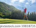 Asian woman golf player doing golf swing tee off 39838735