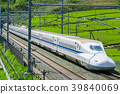 Fresh green tea fields and Shinkansen 39840069