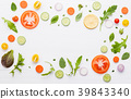 Food pattern with raw ingredients of salad. 39843340