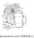 Composition this Tumbler and tropical palm leaves 39846811