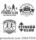 Set of fitness club badges. Vector. Concept for 39847056