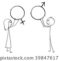 Cartoon of Man and Woman Holding Male and Female 39847617