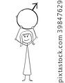 Cartoon of Woman Holding Male Sex Symbol 39847629