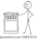 Cartoon of Man Looking at Big Box of Cigarettes 39847634