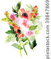 Greeting card with watercolor flowers handmade. 39847869