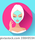 Spa Woman applying Facial cleansing Mask. Beauty 39849594