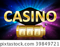 Jackpot shiny gold lucky casino lotto label with 39849721