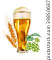 玻璃啤酒大麥蛇麻草水彩例證 39850687