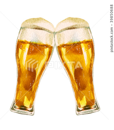 玻璃啤酒多士水彩例證 39850688