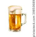 杯子啤酒啤酒水彩例證 39850689
