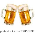 杯子啤酒多士水彩例證 39850691
