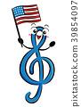 Mascot GClef Flag Illustration 39854097