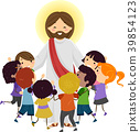 Man Jesus Stickman Kids Hug Illustration 39854123