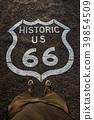 Historic route 66 mark on asphalt surface  39854509