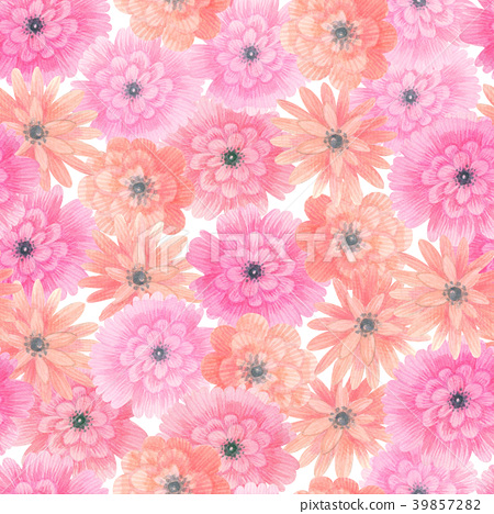 Watercolor meadow flowers seamless pattern. Floral 39857282