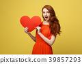 Portrait of happy romantic young caucasian girl 39857293