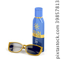 Sunscreen lotion and female sunglasses 39857813